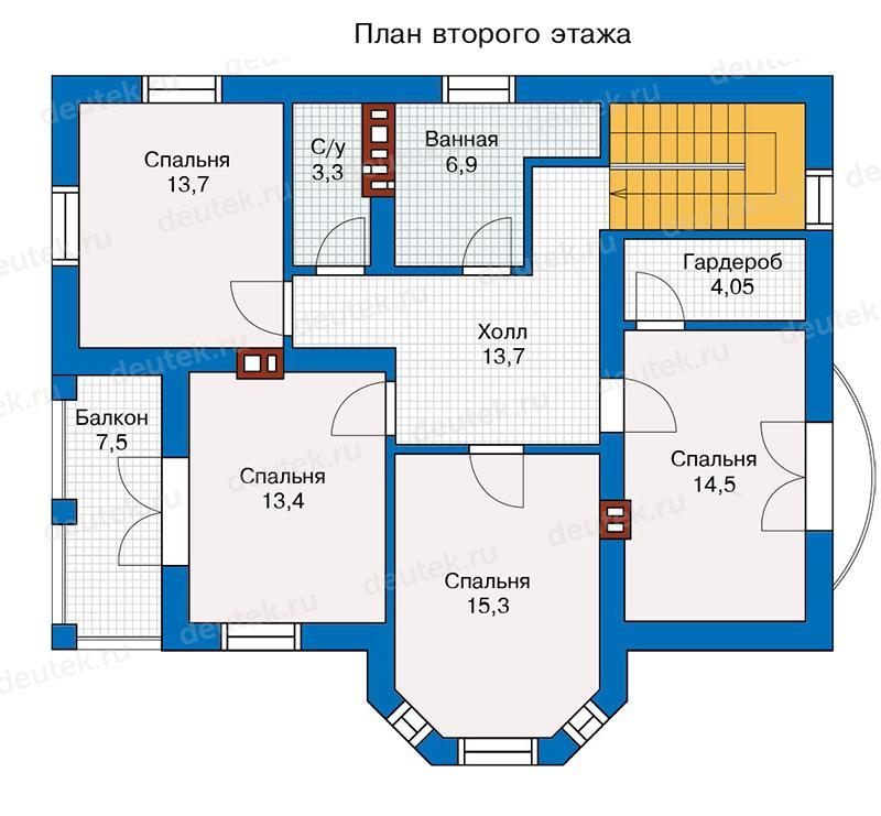 каталог, обсуждение, проект коттеджа с 4 спальнями на втором этаже кухонная