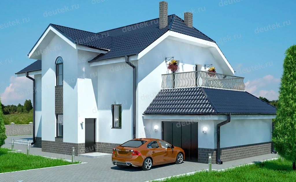 Dt0499 - проект красивого дома с мансардой и балконом над га.